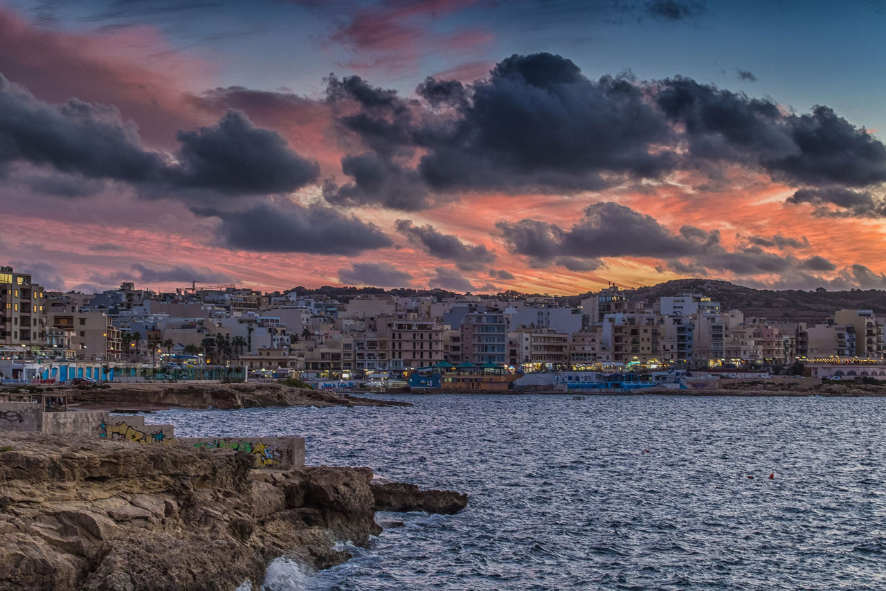 Sunset over Bugibba, Malta